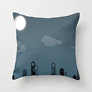 Generic 20 X 20 Inch Cotton Retro Vintage Home Decorative Indoor/Outdoor Throw Cushion Cover Cityscape At Night