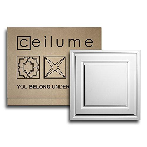 - 6 pc. - Ceilume Oxford White 2 X 2 Lay-in Ceiling Tiles - $3.49 Per Sq. Ft. - $13.96 Per Tile –Faux Ceiling, Drop Ceiling, Decorative Ceiling Tiles, Glue up Ceiling, 24x24, T-bar Ceiling
