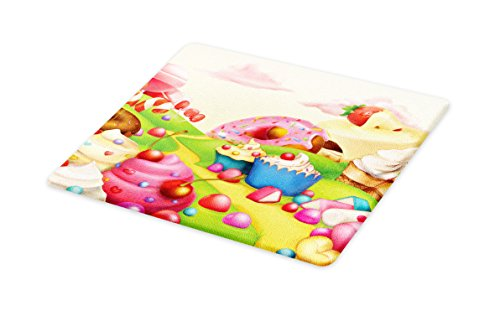 Ambesonne Modern Cutting Board, Yummy Donuts Sweet Land Cupc