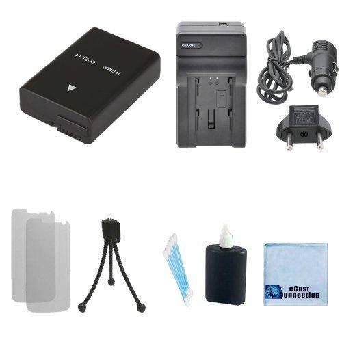 EN-EL14 High-Capacity Battery + Car/Home Charger For Nikon D5300, D5200, D3100, D5100, D3200, D3300 Coolpix P7100 Camcorders + eCostConnection Complete Starter Kit