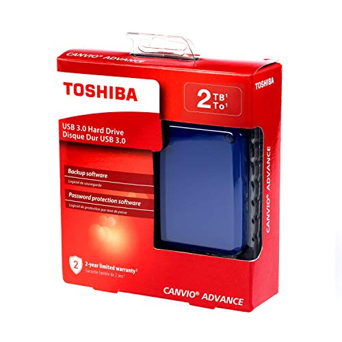 HD Externo Portátil Toshiba Canvio Advance 2TB Azul USB 3.0 - HDTC920XL3AA