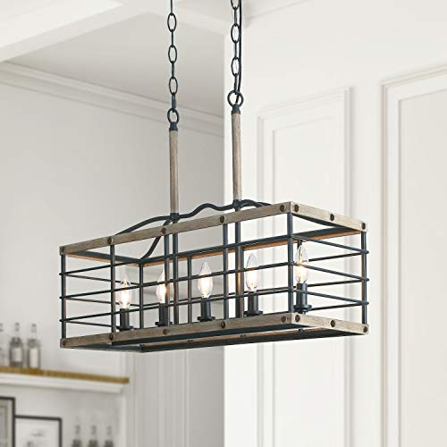 LALUZ Farmhouse Kitchen Island Lighting for for Dining Room Distressed Pendant with Faux Wood, L26