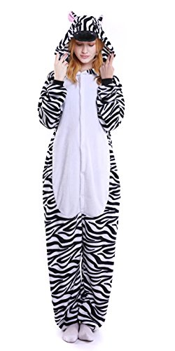 WAMUSS Unisex Adult Animal Cosplay Pajamas Sleepwear Onesies Zebra Costume (M(Ht:59