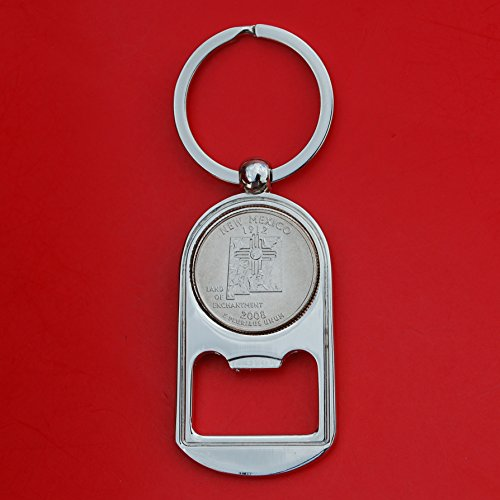 US 2008 New Mexico State Quarter BU Uncirculated Coin Silver Tone Key Chain Ring Bottle Opener NEW
