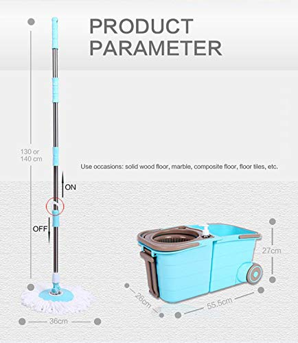 Spin Mop Bucket System - Deluxe Stainless Steel 360 Spin Wringer Dry Basket & Telescopic Handle Pole, Hurricane Spinning Mop Bucket Kit, 2 Microfiber Heads Replacement by Buyplus (Image #4)