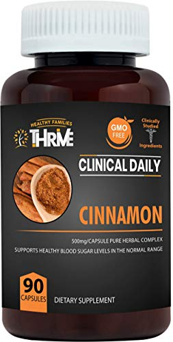 CLINICAL DAILY Cassia Cinnamon Capsules. Pure Cinnamomum Cassia complex, Bark & Extract. Control Sugar Cravings to control Blood Glucose & Weight. Natural Circulation, Anti Inflammatory support. 90 ct (Foods That Cause High Blood Pressure Spikes)
