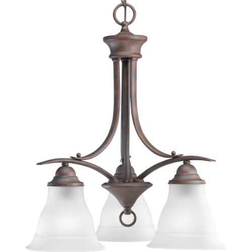 - Progress Lighting P4324-33 3-Light Chandelier with Etched Glass, Cobblestone