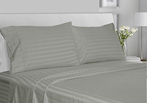 CHATEAU HOME COLLECTION Luxury 100% Supima Cotton 500 Thread Count Ultra Soft Damask Stripe Sheet Set, Mega Sale, Lowest Prices, Moonstone, - Sheet 500 Set