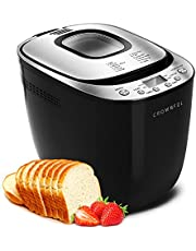 CROWNFUL Automatic Bread Machine, 2LB Programmable Bread Maker with Nonstick Pan and 12 Presets, 1 Hour Keep Warm Set , 2 Loaf Sizes, 3 Crust Colors, Recipe Booklet Included, ETL Listed