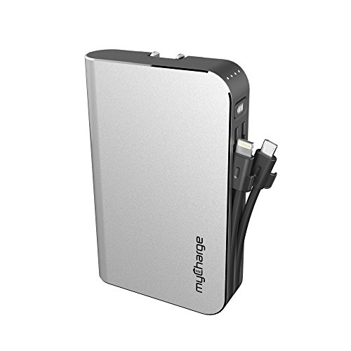 myCharge HubMax Portable Charger 10050mAh / 3.4A External Battery Pack with Built-in USB Port, Integrated Apple Lightning and Micro-USB Cables, Foldable Wall Plug for iPhone, iPad, Samsung Galaxy