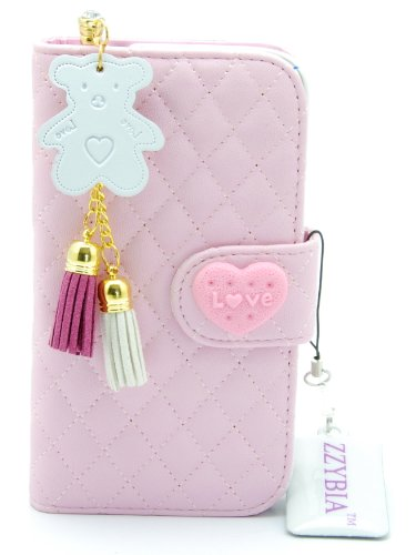 ZZYBIA® S4 QHB Pink Leatherette Case Card Holder Wallet With White Bear Fringed Dust Plug Charm for Samsung Galaxy S4 IV I9500 I9505