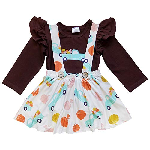 (So Sydney Suspender Skirt 2 Piece Outfit, Girls Toddler Fall Winter Christmas Holiday Dress Up Boutique Outfit (M (4T), Pumpkin)