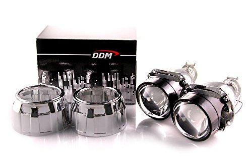 Pair of DDM Tuning Bi Xenon Retrofit Mini H1 Projectors V2 Premium,2.5in,W / Mini GG Shrouds,
