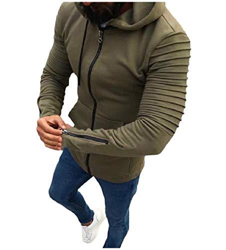 Outwear Cappuccio Fino Intera Giacche Con Lunghe Militare Cardigan Drappo Zip Xinheo Maniche Mens Verde A 7YRcZ