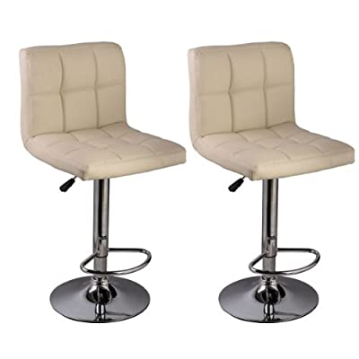 Set of 2 Bar Stool PU Leather Barstools Chair Adjustable Counter Swivel Pub
