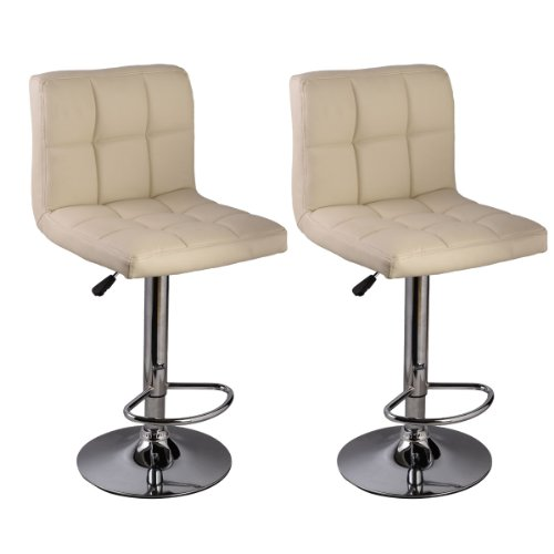Set of 2 Bar Stool PU Leather Barstools Chair Adjustable Counter Swivel Pub (Mission Two Light Island)