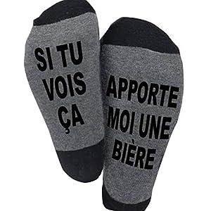 Blesser Chaussettes Coton, SI TU VOIS ÇA, APPORTE MOI UNE BIERE Chaussettes Drôles Chaussettes Courtes Fantaisie Cadeaux…