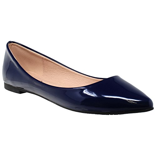 Flats Ballet Women Pointed Slip Shoes SOBEYO Patent On Closed Navy Toe Toe Owq5Epd