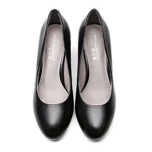 Shoes Slip Work On Casual Womens Black Ladies Kitten Court Office Heels Bombas Formal Black Shoes Cómodo nwqa8Xx7gT