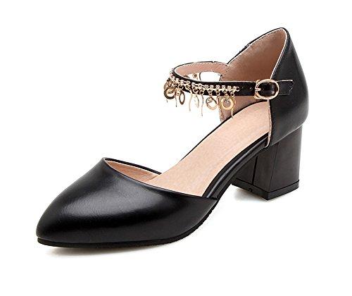 Strass Schwarz Damen Knöchelriemchen Blockabsatz Spitze Geschlossen Ring Aisun Zehen Schnalle mit Sandale RFfwR1