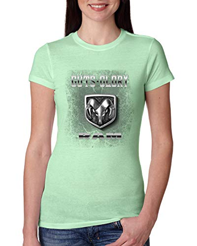 Dodge Ram Logo Retro Guts Glory USA | Womens Cars and Trucks Junior Fit Tee, Mint, Medium