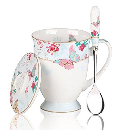 AWHOME Royal Fine Bone China Coffee Mugs Spoon and Lid Tea Cup Gift for Women Mom