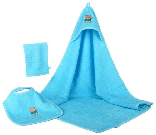 Baby Badeset Frottee 3tlg Kapuzenhandtuch Lätzchen Waschhandschuh blau