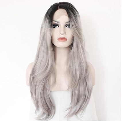 Imstyle - Peluca de pelo sintético, liso natural, color gris con raíces negras,