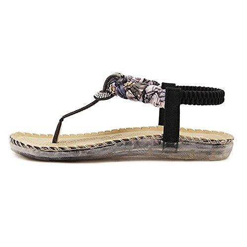 Chaussons Été Style Femmes Fille Chaussures Rhinestone Bohémien Noir Minetom Des Talon Tongs Plat Sandales P1Ywdnx