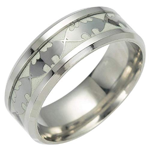 Geek & Glitter Batman Glow-in-the-Dark Ring Titanium Stainless Steel Silver Ring Band - DC Superhero Cosplay Jewelry (Silver, 8) (Mens Wedding Rings Batman)