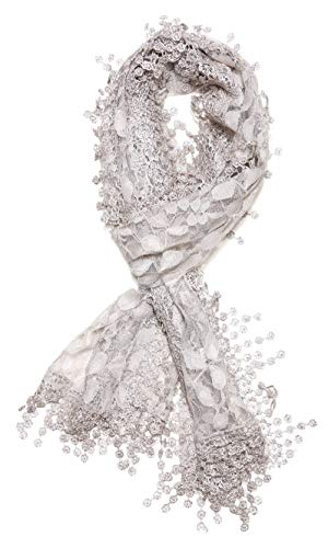 Cindy and Wendy Lightweight Soft Leaf Lace Fringes Scarf shawl for Women,Light Gray,One Size -