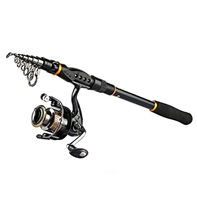 Goture Spinning Fishing Reel and Rod Combo for Bass Trout Salmon Fit Boat Travel Fishing - Portable Telescopic Fishing Gear