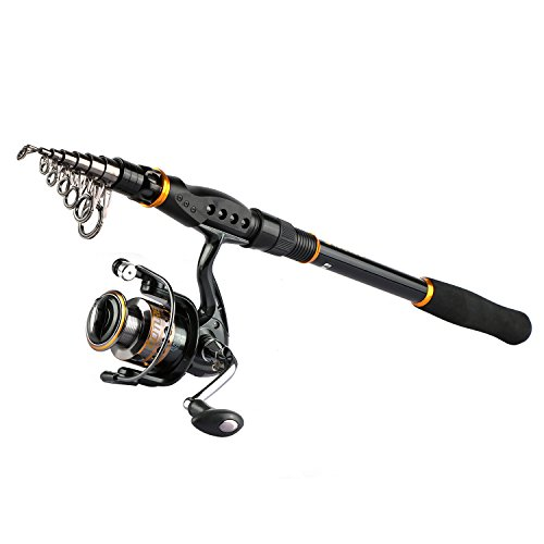 Goture Spinning Fishing Reel and Rod Combo for Bass Trout Salmon Fit Boat Travel Fishing - Portable Telescopic Fishing Gear Salmon Trout Rod