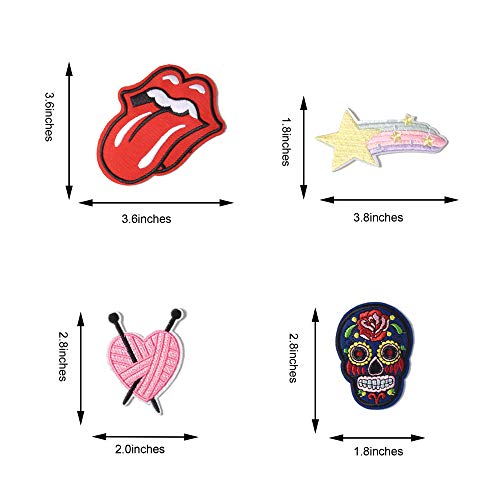 SHELCUPCool Embroidered Iron Patches, for Jackets, Packs, Jeans, Assorted Styles(20PCS)