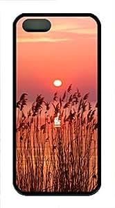 iPhone 5 5S Case landscapes nature sunset wheat 5 TPU Custom iPhone 5 5S Case Cover Black