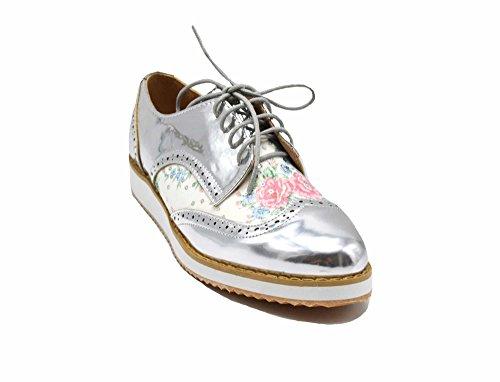 Oh My Shop SHP124 * Derbies Derby Vernis Perforé Argenté avec Motif Fleurs Multicolore, Lacets Et Semelle Compensée