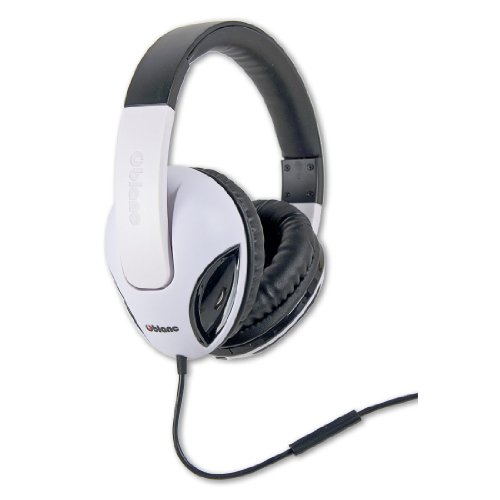 Syba OG-AUD63049 NC-1 COBRA 2.1 Dual Driver Headphone with Built-In Amplifier and In-line Microphone, Black and White Model