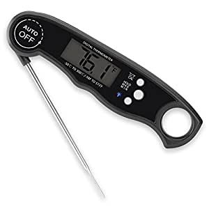 Waterproof Digital Meat Thermometes, Super Fast Instant Read Thermometer with Calibration and Backlight functions, Food Thermometer for Kitchen BBQ and Outdoor Cooking (Black)