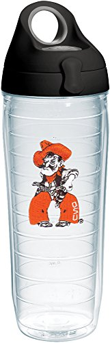 - Tervis 1231764 Oklahoma State Cowboys Pistol Pete Insulated Tumbler with Emblem and Black with Gray Lid 24oz Water Bottle Clear