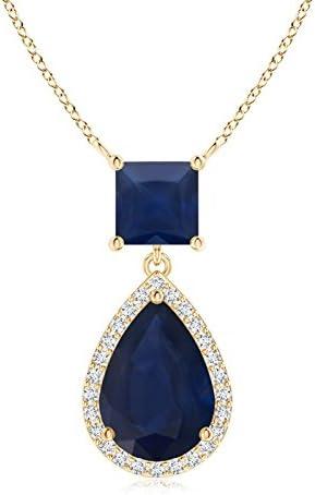 ANGARA Colgante de Zafiro Cuadrado y Pera con halo de Diamante (10 x 7 mm, Zafiro Azul)