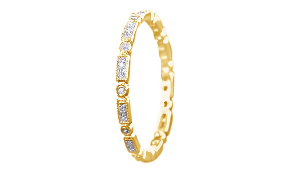 Full Eternity Art Deco 0.2 Ct Natural Diamond Engagement Band Ring In 10K Solid Yellow Gold by Jewel Zone US