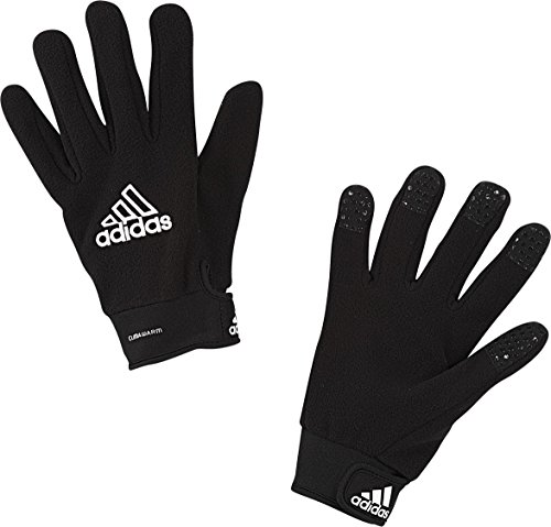 (adidas Field Player Fleece Glove, Black/White, Size 6)