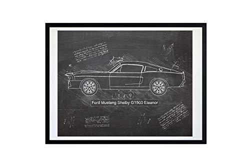 (DolanPaperCo #507 Ford Mustang Shelby GT500 Eleanor (1967) Art Print Art Print, da Vinci Sketch - Unframed - Multiple Size/Color Options (11x14, Blackboard))