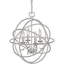 Kichler Vivian 19.02-in 4-Light Brushed Nickel Globe Chandelier