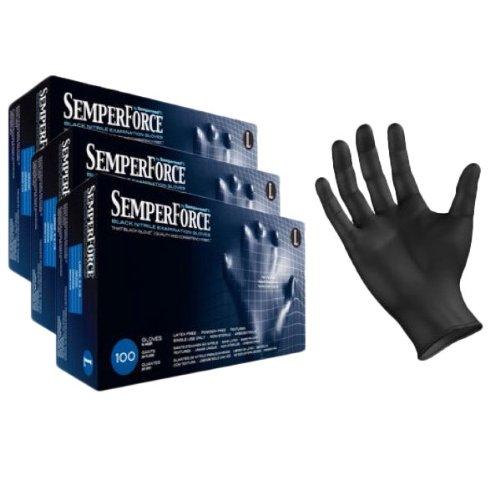 Black Nitrile Exam Tattoo Gloves, Powder Free, Latex Free, Semperforce®, 100/Box sizes Large (300, Large) (Tattoo Supplies Cheap)