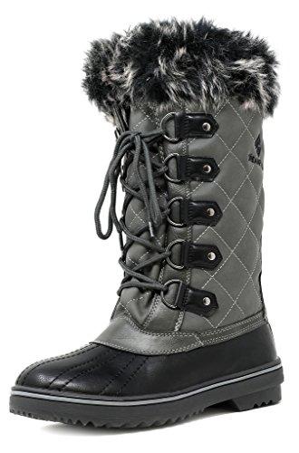 DREAM PAIRS Women's Swiss Grey Mid Calf Waterproof Winter Snow Boots Size 9 M US