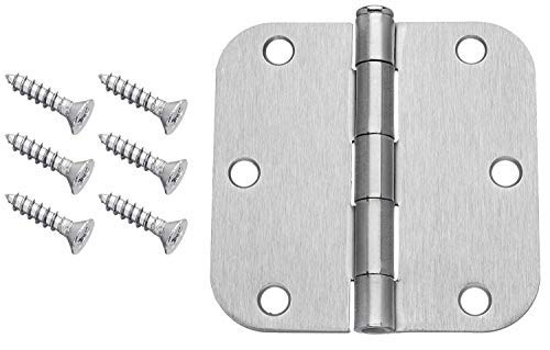 Dynasty Hardware 3-1/2'' Door Hinges 5/8'' Radius Corner, Satin Nickel (36 Pack)