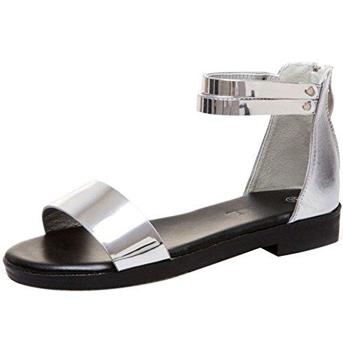 Silver Sandales Femmes VulusValas Plat Chaussures qw84zUxgI