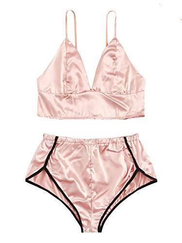 (WDIRARA Women's Sleepwear Contrast Trim Sleeveless Spaghetti Strap Pajama Set Pink L)