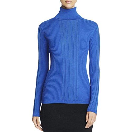Dkny Wool Cardigan (DKNY Womens Turtleneck Ribbed Trim Turtleneck Sweater Blue M)